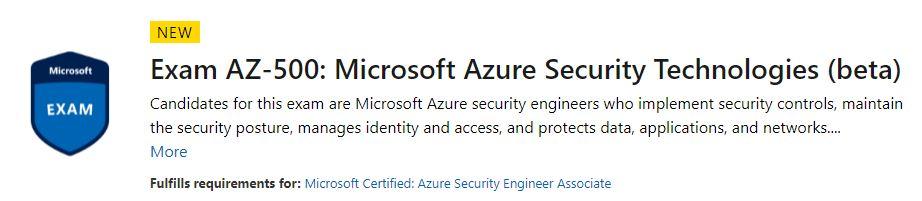 Exam AZ-500 - Microsoft Certified Azure Security Engineer Associate